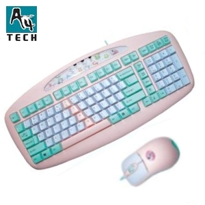 A4-Tech Mini-Keyboard + Mouse rosa